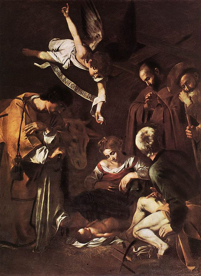 Michelangelo Merisi da Caravaggio, Nativity with San Lorenzo and San Francesco, 1609.