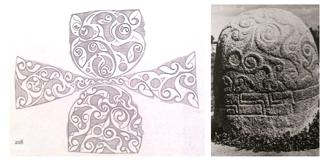 From right to left: Schematic drawing of the carvings on the surface of the  Turoe Stone . Co. Galway, Ireland. First century BCE. Carved granite.  In situ . Image Source: Megaw & Megaw, 2001. Southwest view of the Turoe Stone. Image Source: Megaw & Megaw, 2001