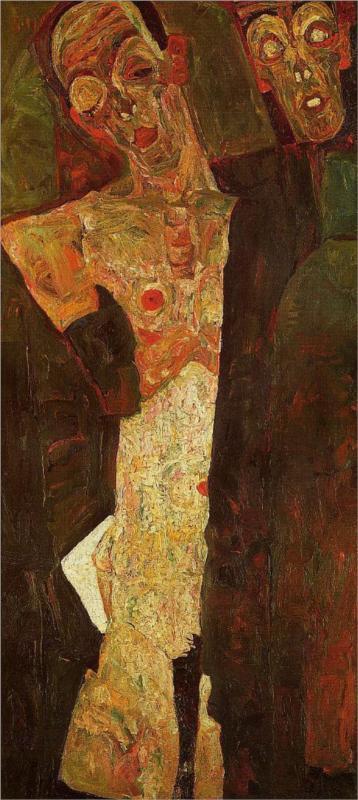 Egon Schiele,  Prophets , (1911) Oil on canvashttps://curiator.com/art/egon-schiele/prophets-double-self-portrait