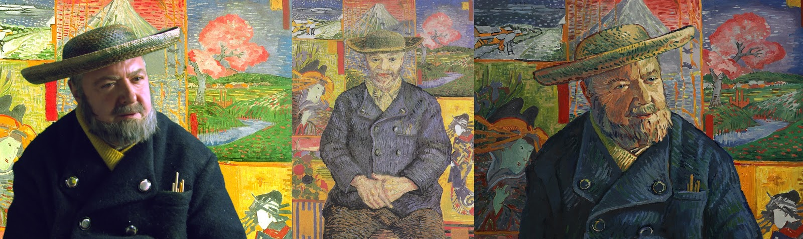 John Sessions,  Portrait of Père Tanguy  (1887), and still of Père Tanguy in  Loving Vincent (  https://lovingvincent.com/images/zdjecia/John%20Sessions_Pere%20Tanguy_High.jpg  )