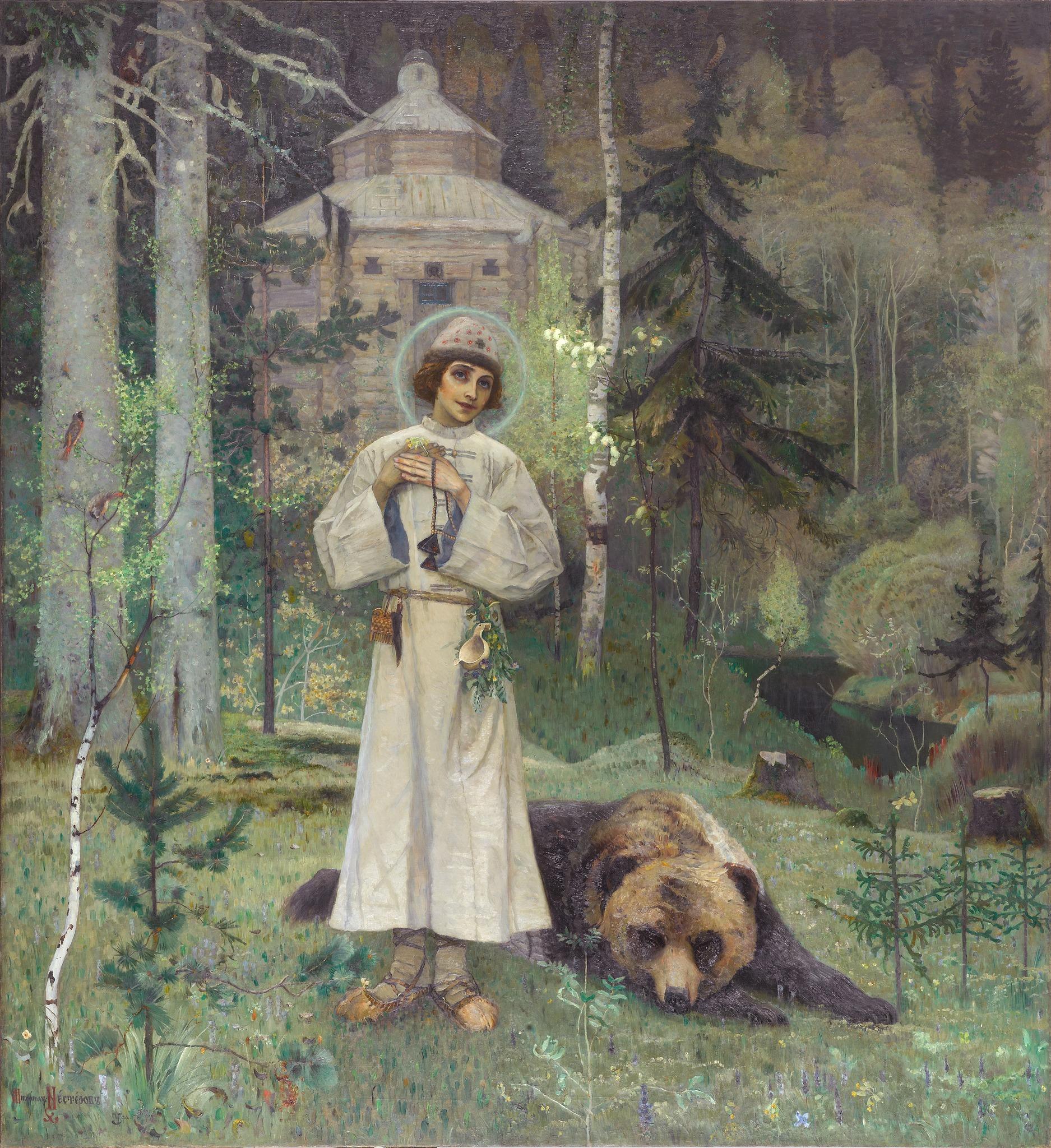 Mikhail Nesterov,  The Youth of Venerable Sergius  (1892-1897) Oil on canvas. 251 х 232cm. Tretyakov Gallery, Moscow.  https://www.tretyakovgallery.ru/en/collection/yunost-prepodobnogo-sergiya/