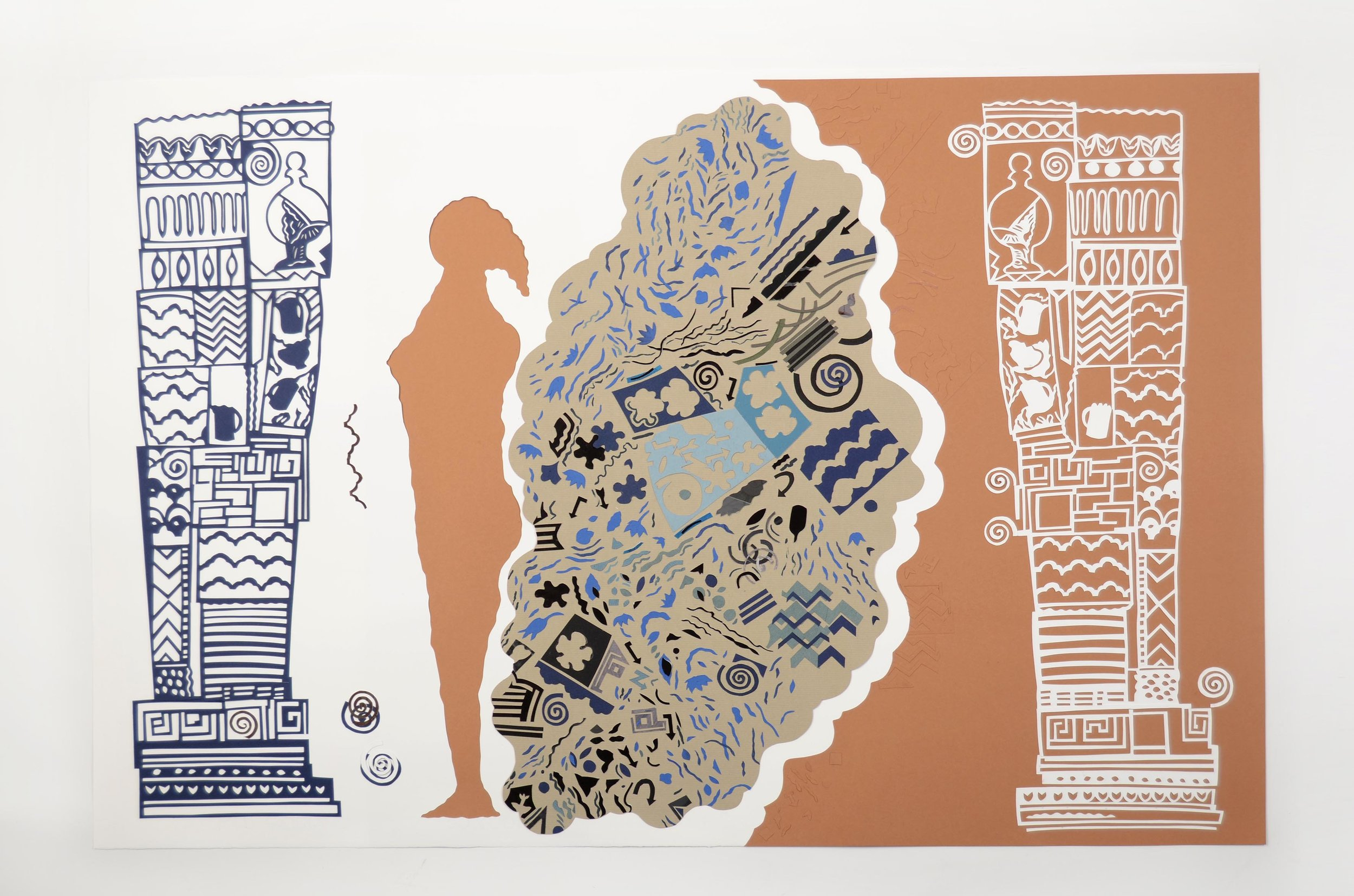 Charlotte Hodes,  Proposition 36 Pillar , cut printed and painted papers, 63.2 x 93.8 cm, 2014.   https://charlottehodes.com/portfolio/the-grammar-of-ornament/