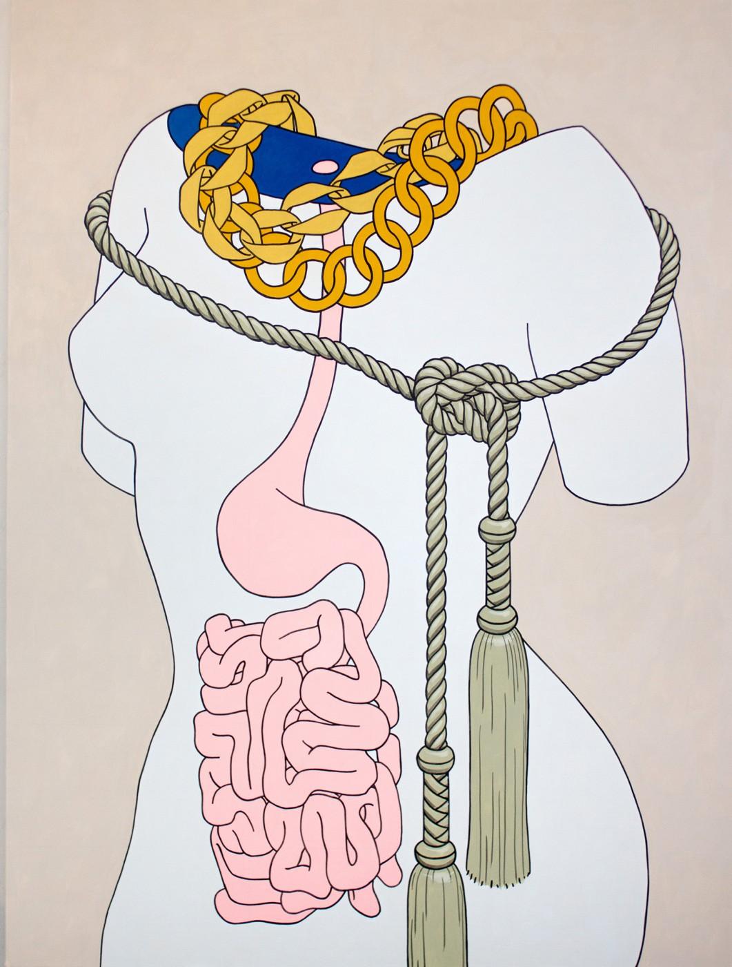 Caitlin Keogh, Intestine and Tassels , 2015, Acrylic on canvas, 84 x 63 in / 213.4 x 160cm. http://bortolamigallery.com/artist/caitlin-keogh/works/