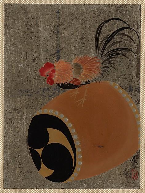 Shibata Zeshin, Cock on Drum, 1882, lacquer on silver paper.