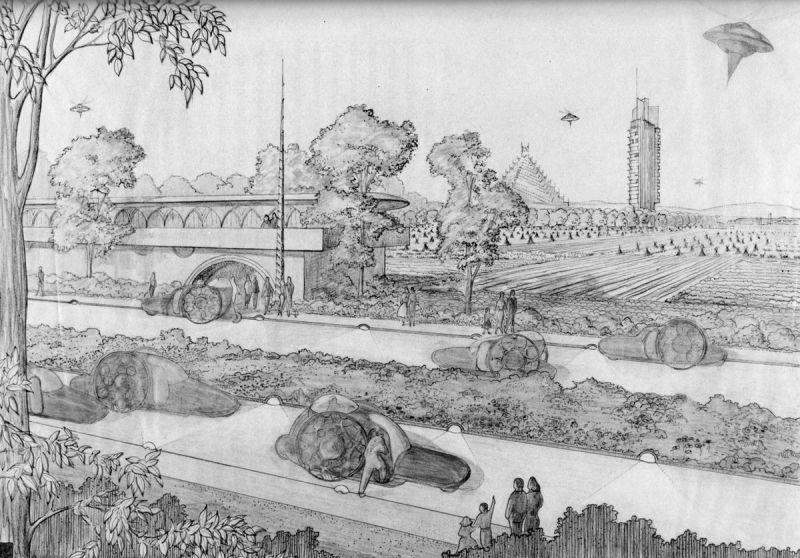 Frank Lloyd Wright, Sketch of Broadacre City. https://paleofuture.gizmodo.com/broadacre-city-frank-lloyd-wrights-unbuilt-suburban-ut-1509433082