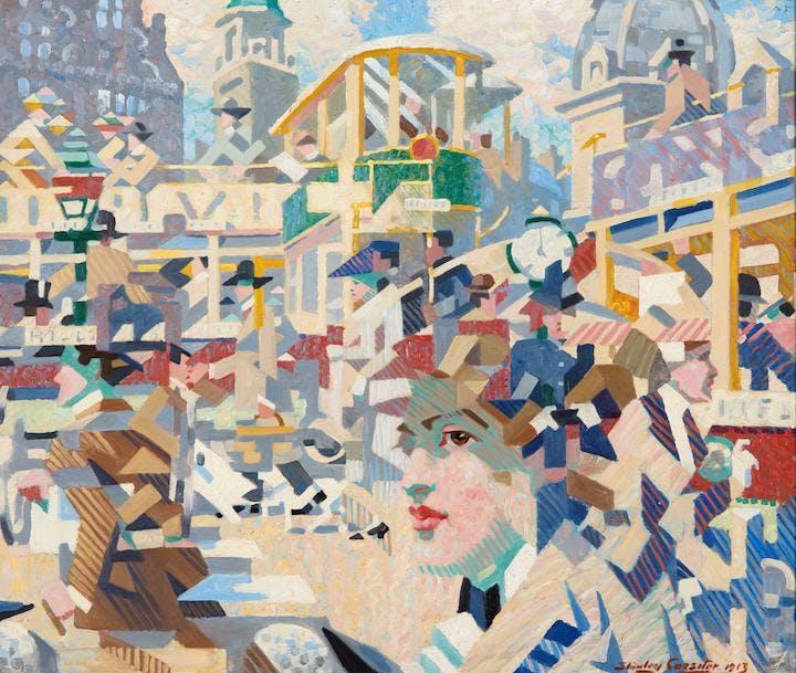 Stanley Cursiter,  The Sensation of Crossing the Street   -   West End, Edinburgh , 1913, Scottish Gallery of Modern Art.  https://www.apollo-magazine.com/art-diary/a-new-era-scottish-modern-art-1900-1950-national-gallery-scotland/