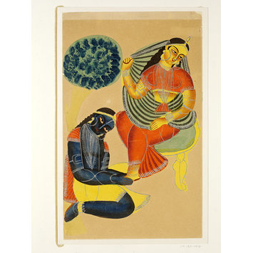 Krishna and Radha.  c.1885-1930, Kolkata, watercolour and tin alloy on paper, 453 x 278mm, Victoria and Albert Museum.   http://collections.vam.ac.uk/item/O404751/krishna-and-radha-painting-unknown/