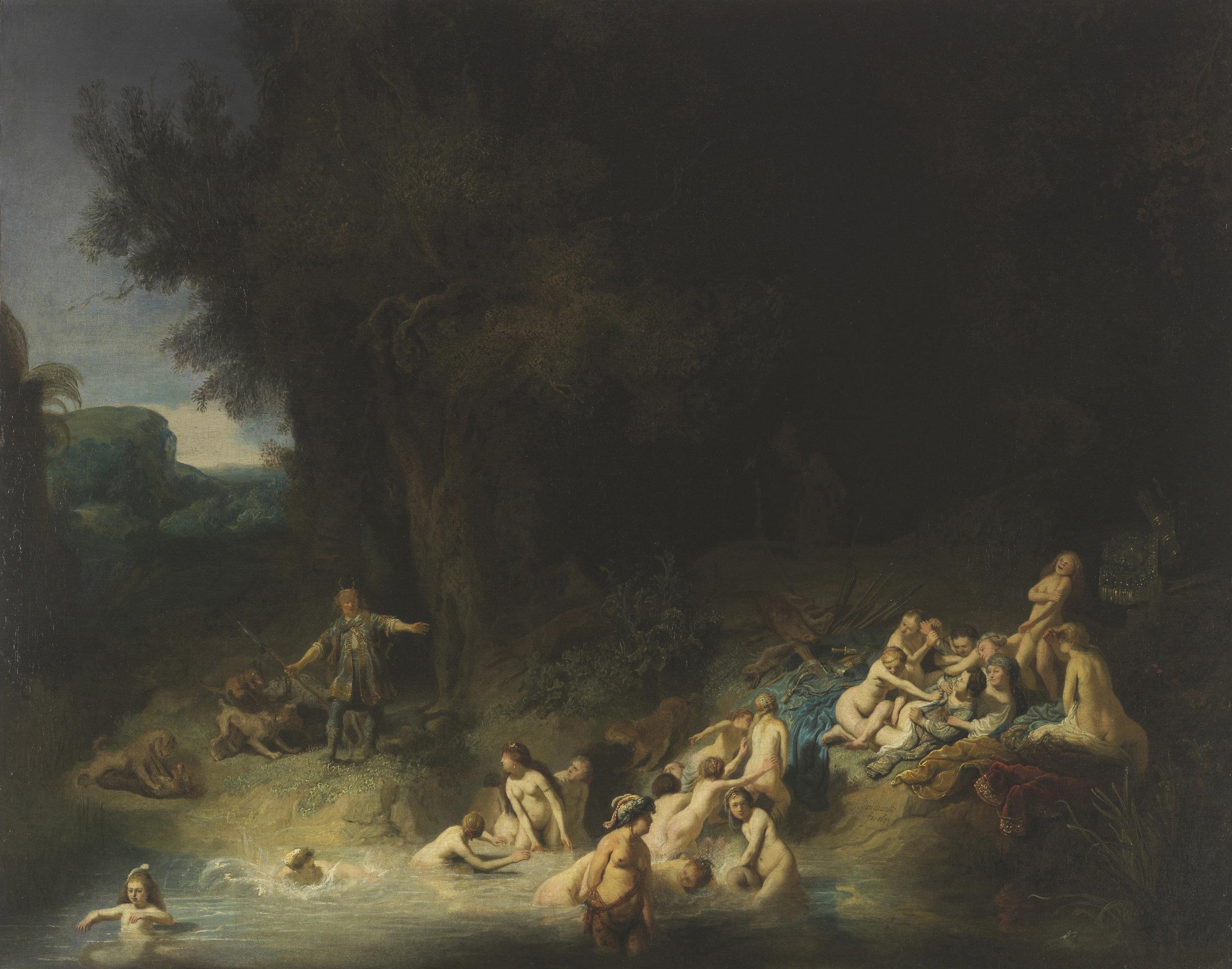 Rembrandt van Rijn, Diana Bathing with her Nymphs with Actaeon and Callisto,  1634.https://commons.wikimedia.org/wiki/File:Rembrandt,_Harmenszoon_van_Rijn_-_Diana_mit_Akt%C3%A4on_und_Kallisto_-_c.1634-1635.jpg