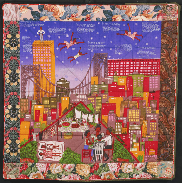 Faith Ringgold,  Tar Beach II Quilt , 1990,Multicolored screenprint on silk plain weave, printed cotton plain weave, black and green synthetic moire, 66 x 67 inches (167.6 x 170.2 cm), © 1990 Faith Ringgold.  http://www.philamuseum.org/collections/permanent/86892.html