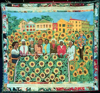 """Faith Ringgold,  The French Collection Part I; #4: The Sunflower Quilting Bee at Arles , 1991; Acrylic on canvas, tie-dyed, pieced fabric border 74 x 80""""—Private Collection.   http://www.faithringgold.com/ringgold/d15.htm"""