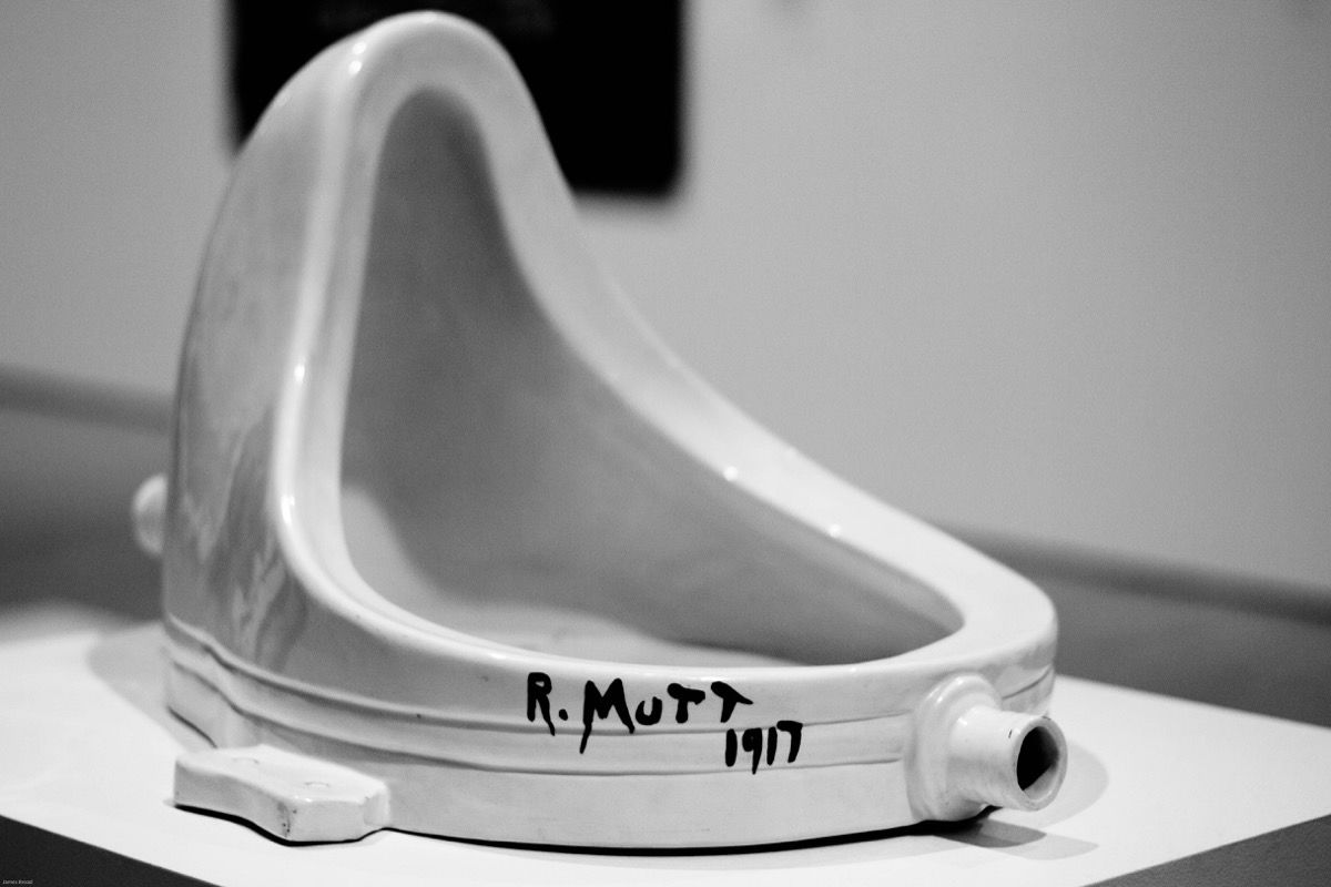James Broad, Installation view of Marcel Duchamp's  Fountain , 1917.  https://www.artsy.net/article/artsy-editorial-duchamps-urinal-changed-art-forever