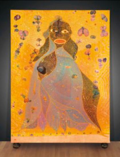 Chris Ofilli,  The Holy Virgin Mary , 1996, Multimedia, Museum of Modern Art, New York City  http://www.artnews.com/2018/04/18/chris-ofilis-holy-virgin-mary-goes-moma-gift-steve-cohen/
