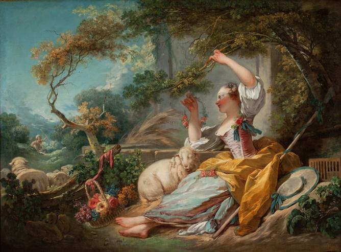 Jean-Honoré Fragonard, The Shepherdess, 1750-52, oil on canvas, 118.75 × 160.02 cm, Milwaukee Art Museum.   http://collection.mam.org/details.php?id=11203