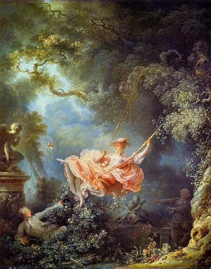 Jean-Honoré Fragonard, The Swing, 1767, oil on canvas, 81 x 64 cm, The Wallace Collection.  https://www.wallacecollection.org/collection/les-hazards-heureux-de-lescarpolette-swing/