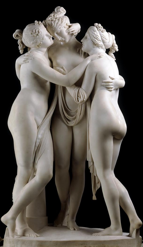 Antonio Canova,  The Three Graces,  carved marble, 1814-1817, 17 cm x 97 cm x 57 cm, Victoria and Albert Museum, London.  http://www.vam.ac.uk/content/articles/t/the-three-graces/