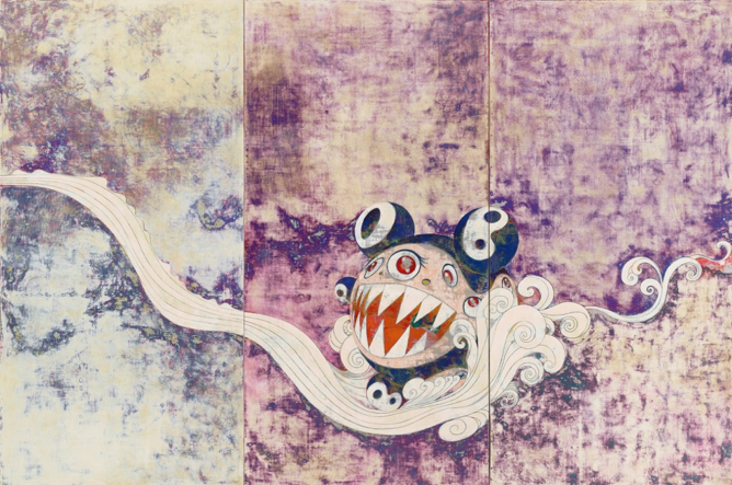 Takashi Murakami,  727 , 1996, Synthetic polymer paint on canvas board, three panels, 299.7 x 449.6 cm. MoMA, New York. https://www.moma.org/collection/works/88960
