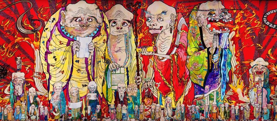 Takashi Murakami,  The Five Hundred Arhats , 2012, Acrylic on canvas mounted on board 302 x 10,000 cm, Private collection. http://www.fluorodigital.com/2015/09/takashi-murakami-the-500-arhats/