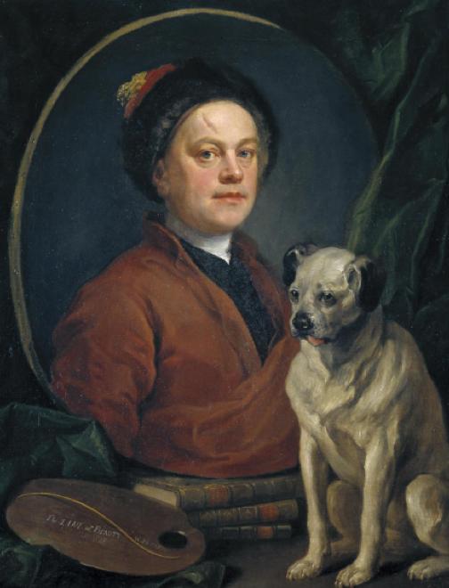 William Hogarth,  The Painter and his Pug,  1745, 90 x 69.9 cm, Tate Britain, London.  https://www.tate.org.uk/art/artworks/hogarth-the-painter-and-his-pug-n00112 .