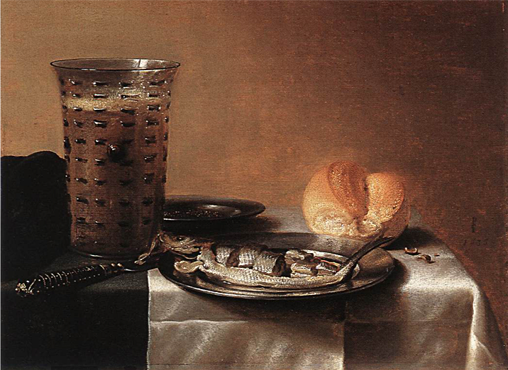 A breakfast still life: Pieter Claesz,  Still Life with Herring , 1636, oil on panel. 100.5 x 119.5 cm, Museum Boijmans Van Beuningen, Rotterdam. https://commons.wikimedia.org/wiki/File:Pieter_Claesz_003.jpg