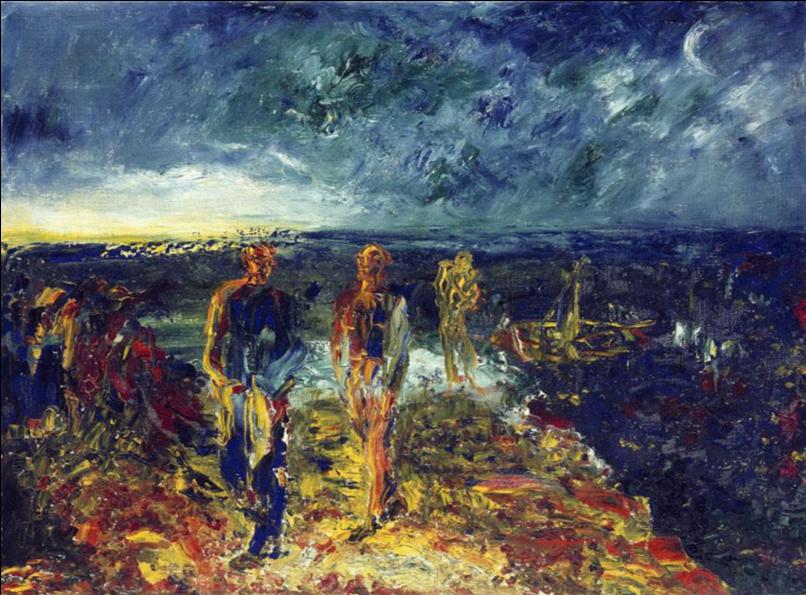Jack B. Yeats,  Men of Destiny,  1946, Oil on canvas, 51 x 69 cm., National Gallery of Ireland. http://onlinecollection.nationalgallery.ie/objects/1559/men-of-destiny?ctx=ca36e51a-458d-4a22-b4b9-ed266c604fba&idx=10