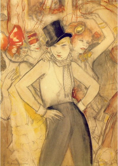 Jeanne Mammen,  She Represents,  c. 1928, watercolour and pencil on paper, 42 x 30.4 cm, private collection. https://theartstack.com/artist/jeanne-mammen/she-represents-1927