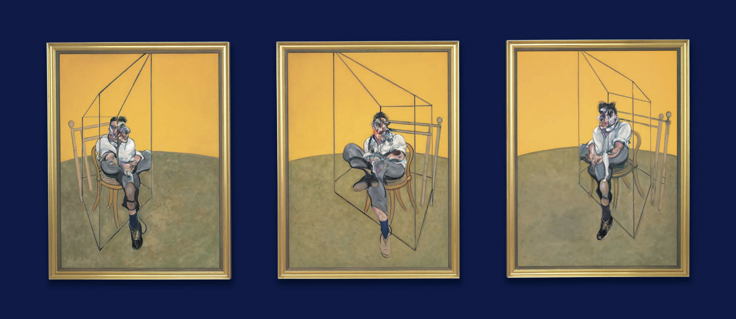 Francis Bacon,  Three Studies of Lucian Freud,  1969, Oil on Canvas in 3 Parts, Courtesy of  www.christies.com