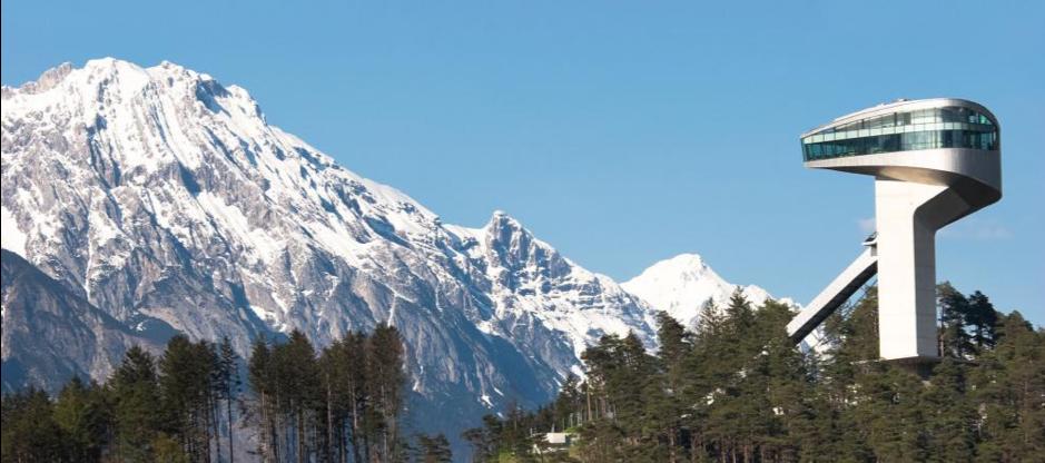 Zaha Hadid,  Bergisel Ski Jump , 2002, concrete and steel, 134 x 316 m, Innsbruck.  https://travelguide.michelin.com/europe/austria/tyrol/innsbruck/ski-jump-innsbruck