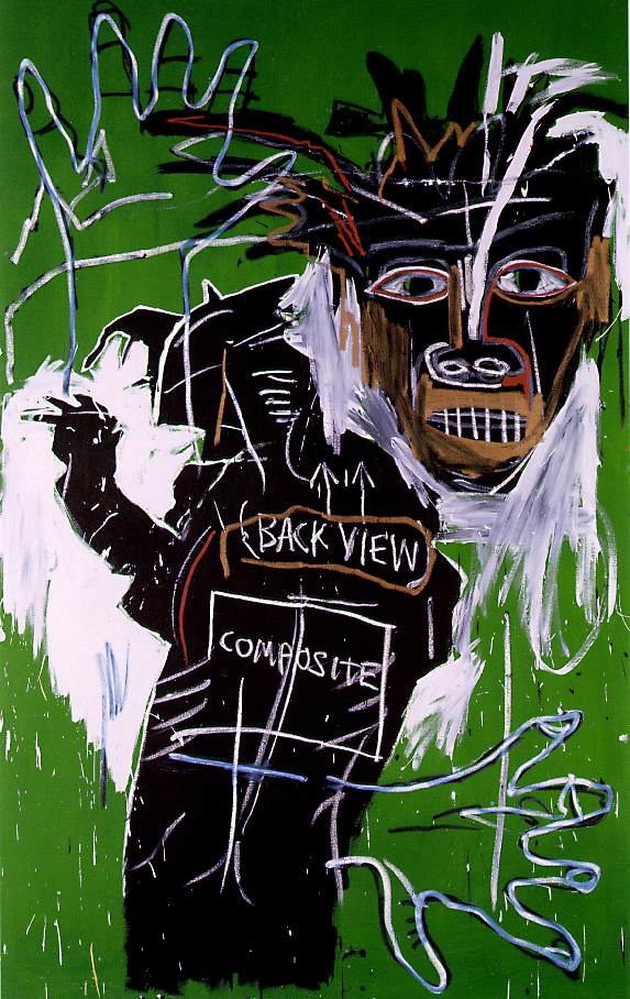 Jean-Michel Basquiat,  Self Portrait as a Heel-Part Two,  1982, acrylic and oil paintstick on canvas, 243.8 x 156.2 cm, Larry Gagosian Gallery, Los Angeles.   https://www.christies.com/lotfinder/Lot/jean-michel-basquiat-1960-1988-self-portrait-as-1686596-details.aspx .