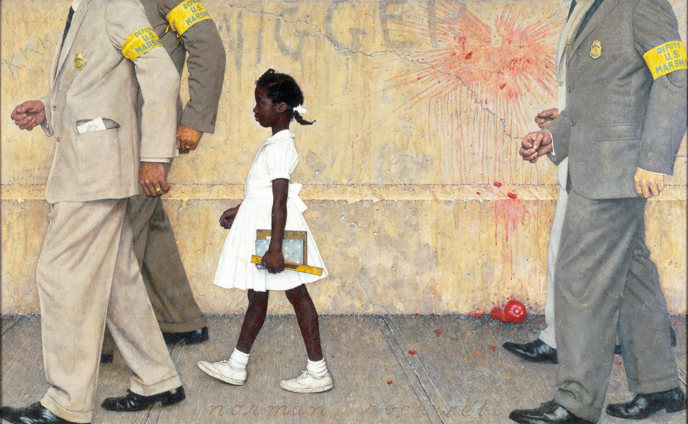 Norman Rockwell,  The Problem We All Live With,  1964, oil on canvas, 91 cm × 150 cm, Norman Rockwell Museum,  https://upload.wikimedia.org/wikipedia/en/e/ed/The-problem-we-all-live-with-norman-rockwell.jpg .