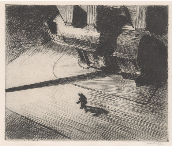 Edward Hopper,  Night Shadows,  1921, etching, Museum of Modern Art, New York https://www.moma.org/collection/works/74938