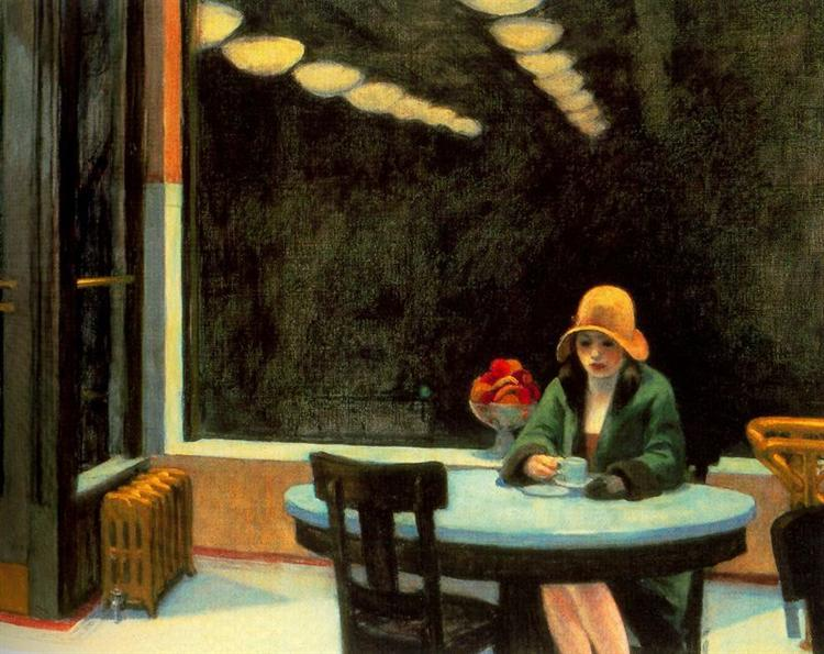 Edward Hopper,  Automat,  1927, oil on canvas, Des Moines Art Centre, Des Moines https://en.wikipedia.org/wiki/Automat_(painting)