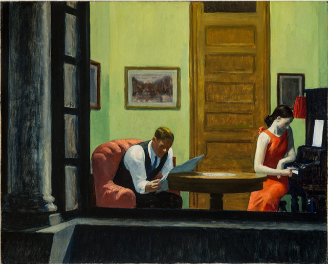 Edward Hopper,  Room in New York , 1932, oil on canvas, Sheldon Museum of Art https://sheldonartmuseum.org/work/hopper-room