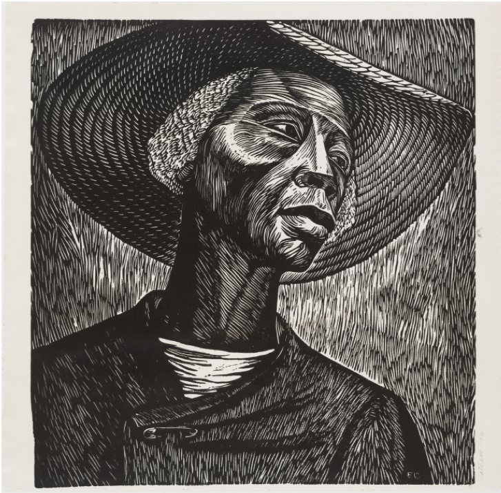 Elizabeth Catlett, Sharecropper, 1952 (linoleum cut), 47 x 48.1 cm, Museum of Modern Art, New York.   https://www.moma.org/collection/works/88189