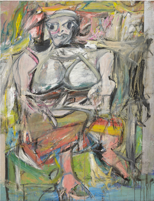 Willem de Kooning,  Woman I,  1950-52, oil and metallic paint on canvas, 192.7 cm x 147.3 cm, MoMA, New York.  https://www.moma.org/collection/works/79810