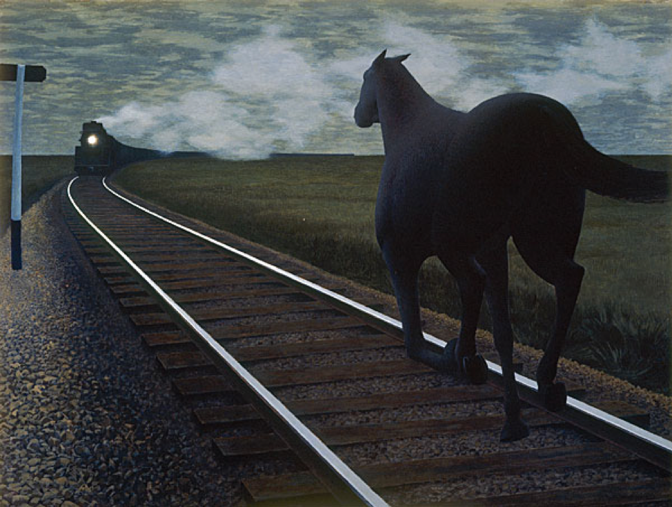 Alex Colville,  Horse and Train,  1954,40 x 53.3 cm, Art Gallery of Hamilton.  http://alexcolville.ca/gallery/alex_colville_1954_horse_and_train/
