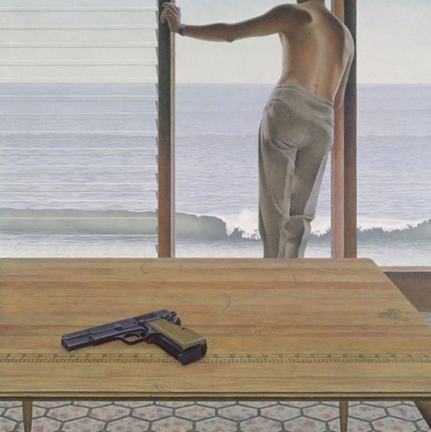Alex Colville,  Pacific,  1967, 53.3 x 53.3 cm, Private Collection.  http://alexcolville.ca/gallery/alex_colville_1967_pacific/