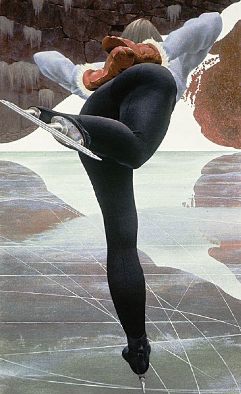 Alex Colville,  Skater,  1964, 113 x 69.8 cm, The Museum of Modern Art, New York.  http://alexcolville.ca/gallery/alex_colville_1964_skater/