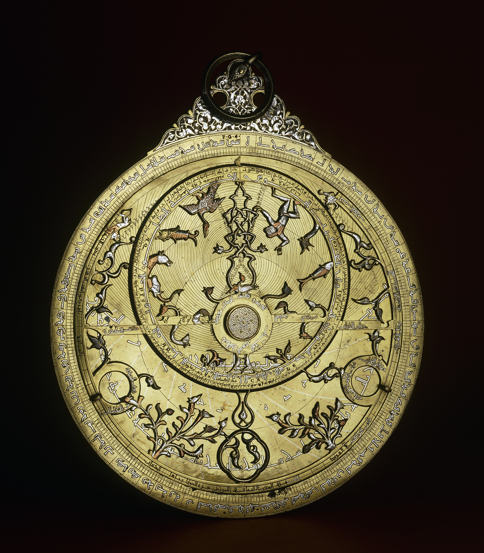 Astrolabe, made of brass inlaid with silver and copper. Probably southeast Turkey, northern Iraq or Syria, AD 1240/1.   https://blog.britishmuseum.org/a-journey-through-the-islamic-world-in-eight-objects/?_ga=2.57084393.2106655954.1556016349-1003548003.1556016349