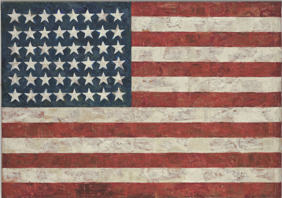 Jasper Johns,  Flag,  1954-55, encaustic, oil, and collage on fabric mounted on plywood, three panels, 107.3 x 153.8 cm, MoMA, New York,  https://www.moma.org/collection/works/78805 .