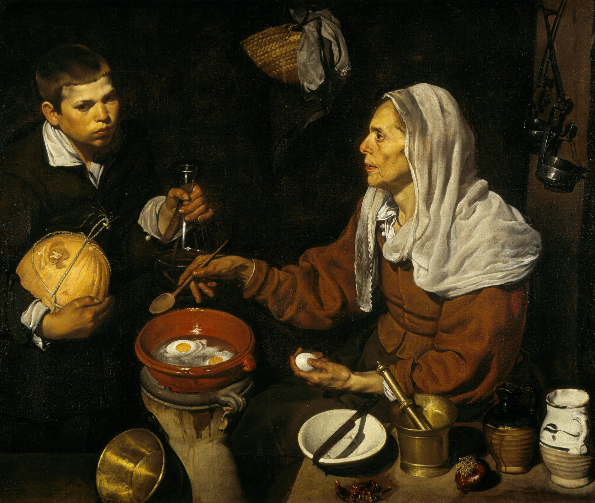 Velázquez, An Old Woman Cooking Eggs, 1618, Oil on Canvas, 100.5cm x 119.5cm, courtesy of https://www.nationalgalleries.org/