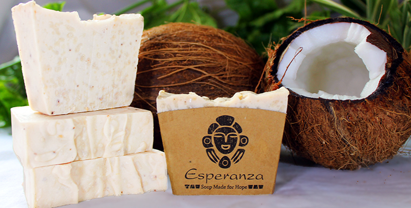 Coco Loco Soap - Grated local coconuts and coconut milk, with  Almond oil and  Vanilla essential oils. Coconut shavings for soft exfoliation.