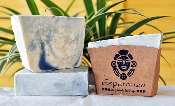 Ocean Blue Soap, with Sea Salt - A soft exfoliating soap with Almond oil and vanilla essential oils.
