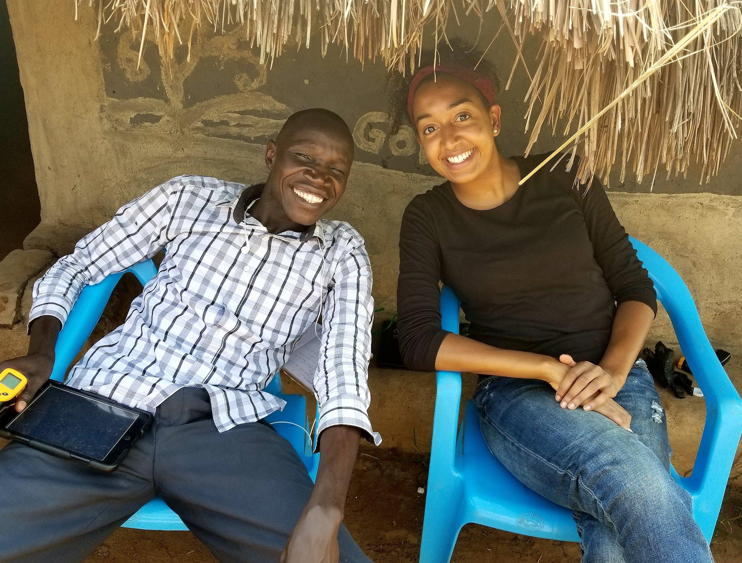 Krista (right), in Uganda representing Esperanza in September 2017