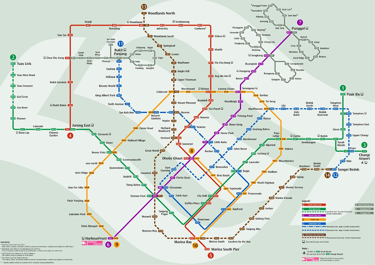 60% Circle Line 1 & 2 65% Thomson Line 70% Downtown Line 1 & 2 100% Downtown Line 3