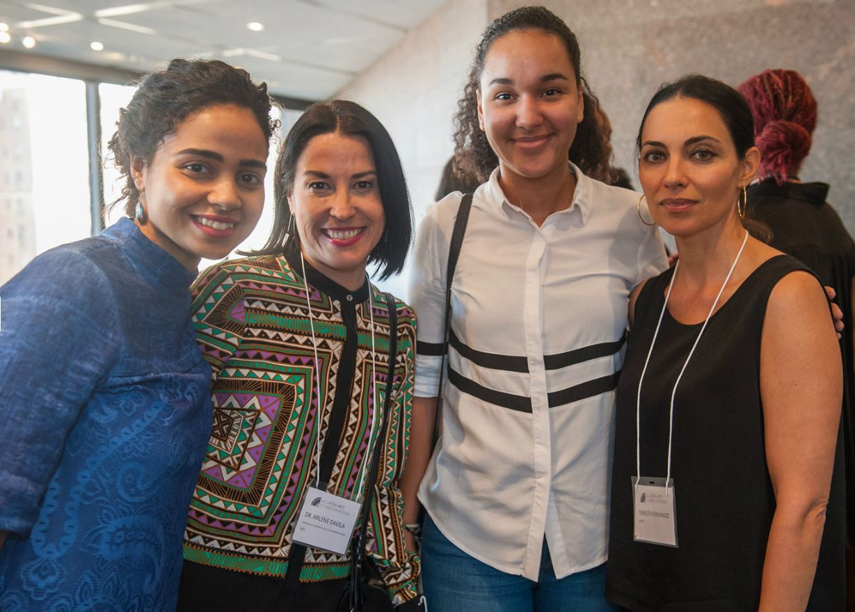 Naiomy Guerrero (far left) with artist Teresita Fernandez (far right) at the Latinx Futures symposium hosted by the Ford foundation last fall. photo courtesy of stephanie berger.