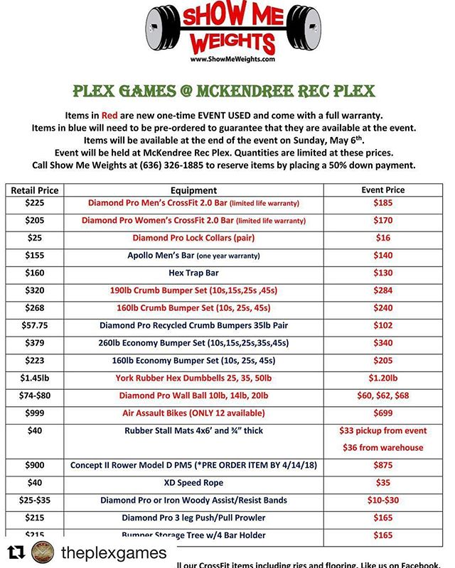Check out what deals Show Me Weights has during The Plex Games! If you are needed any equipment this is the time to purchase for a great price.  #Repost @theplexgames with @get_repost ・・・ As the open draws to a close we're just getting warmed up. There's only 4 weeks left to get your team registered. Just like last year Show Me Weights will be supplying the equipment and selling everything after the event. Here's your chance to get some good equipment for a great deal.  #vendor #showmeweights #venividivici #bestinthemidwest #PlexGames #prizemoney