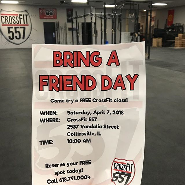 Ever wanted to try CrossFit but never got around to it? Come join us FOR FREE this Saturday April 7 at 10:00 am for our FREE Bring a Friend day! Did we mention it's free? #crossfit557 #nevereasy #alwaysworthit