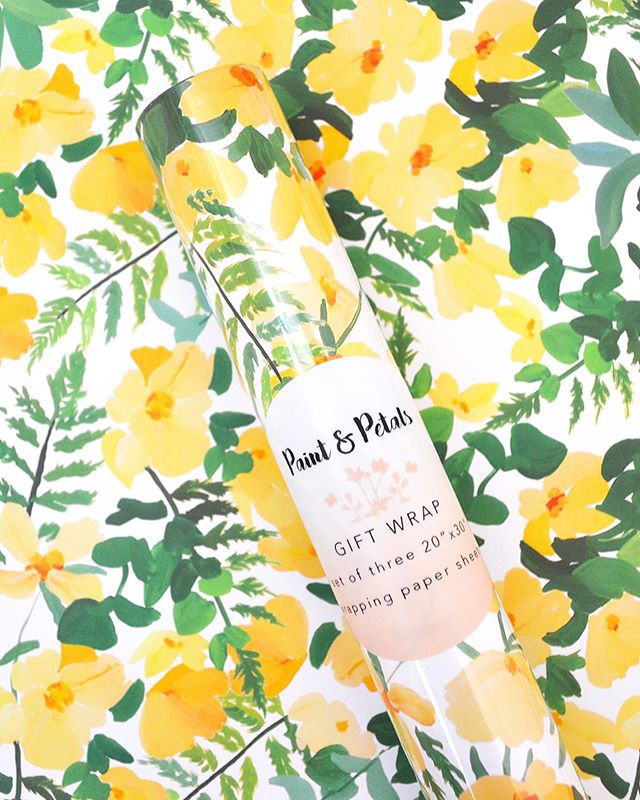 our new gift wrap coming to @diablo.foods this week! 💫🌼⭐️ #paintandpetals #floral #sun