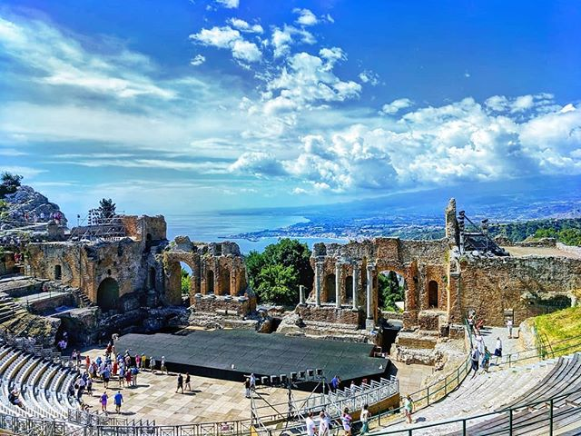 A well-preserved archaeological site, the ancient Greek Theater, next door to @belmondgrandhoteltimeo #forbusinessorpleasure #sicily #the_explorers_club #archaeology