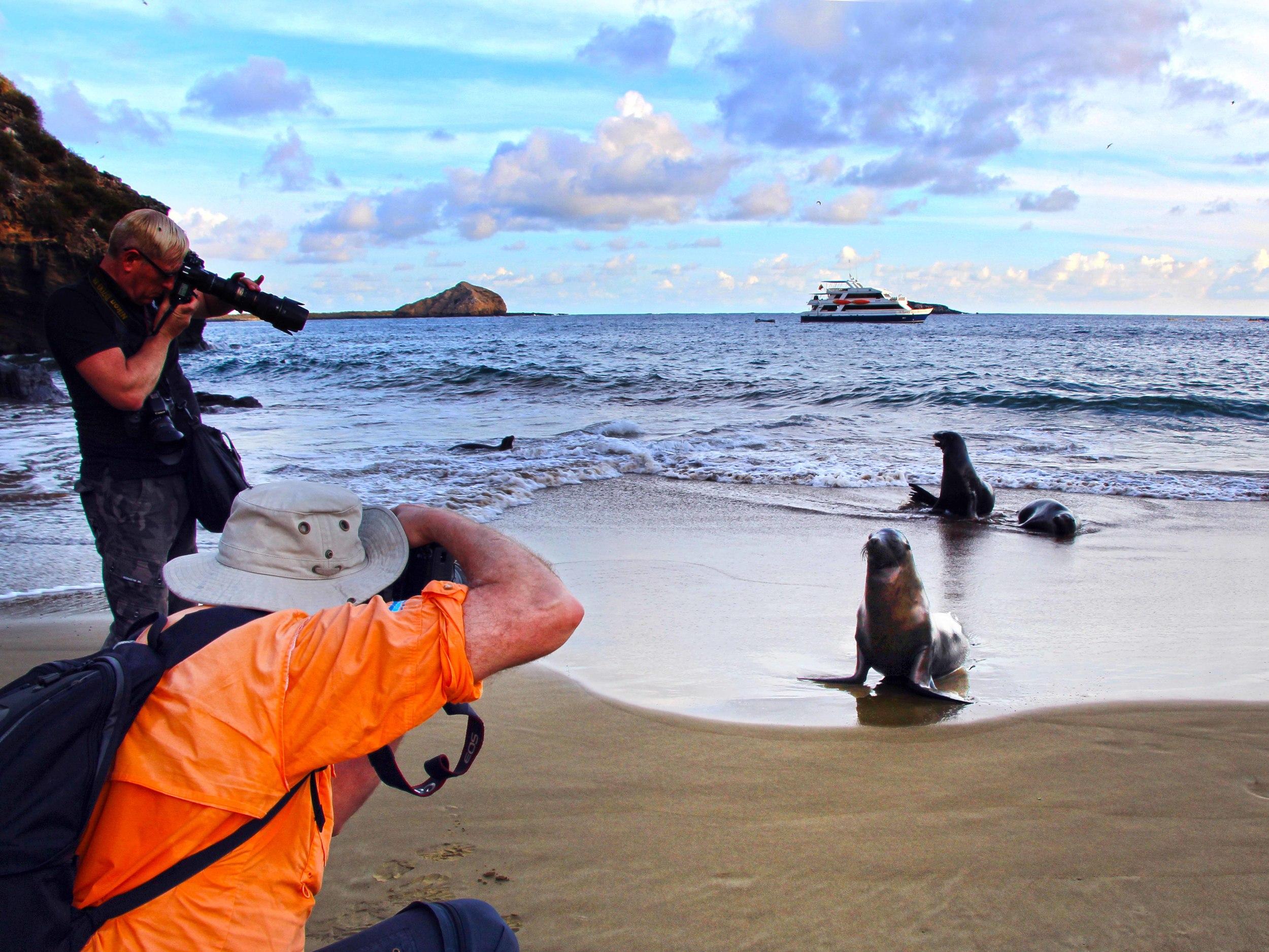 Photographers Getting Their Best Shot, Galapagos Islands      ©Joanne DiBona
